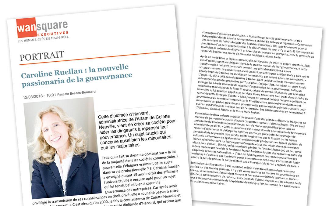 Portrait de Caroline Ruellan dans WanSquare : «la nouvelle passionaria de la gouvernance»